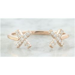 0.10 CTW Diamond 18K Rose Gold Double X Open Front Ring