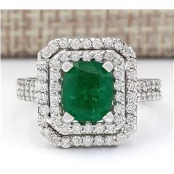 3.59 CTW Natural Emerald And Diamond Ring In 18K White Gold