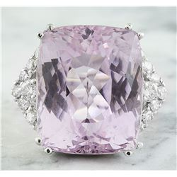 32.39 CTW Kunzite 18K White Gold Diamond Ring