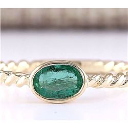 0.50 CTW Natural Emerald And Diamond Ring In 18K Yellow Gold