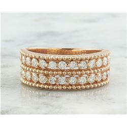 0.66 CTW Two Row Diamond 18K Rose Gold Ring