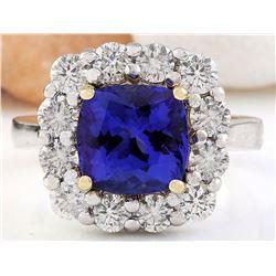 5.98 CTW Natural Tanzanite 18K Solid Two Tone Gold Diamond Ring