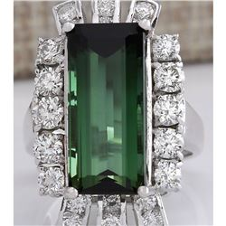 11.67 CTW Natural Green Tourmaline And Diamond Ring 18K Solid White Gold