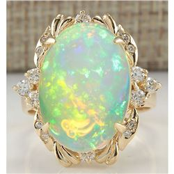 6.42 CTW Natural Opal And Diamond Ring 18K Solid Yellow Gold