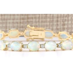 13.80 CTW Natural Opal And Diamond Bracelet In 14k Yellow Gold