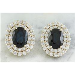 3.70 CTW Sapphire 18K Yellow Gold Diamond Earrings