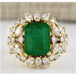 6.61 CTW Natural Emerald And Diamond Ring In 18K Yellow Gold