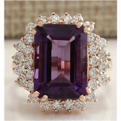 8.37 CTW Natural Amethyst And Diamond Ring In 18K Solid Rose Gold