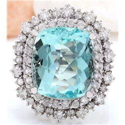 11.71 CTW Natural Aquamarine 18K Solid White Gold Diamond Ring