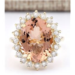 8.66 CTW Natural Morganite And Diamond Ring In 18K Solid Yellow Gold