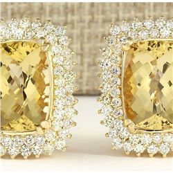 22.00 CTW Natural Citrine And Diamond Earrings 18K Solid Yellow Gold