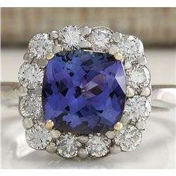 3.93 CTW Natural Blue Tanzanite And Diamond Ring 18K Solid White Gold