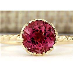 1.50 CTW Natural Pink Tourmaline Ring In 18K Yellow Gold