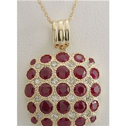 5.61 CTW Natural Ruby And Diamond Pendant In 18K Solid Yellow Gold