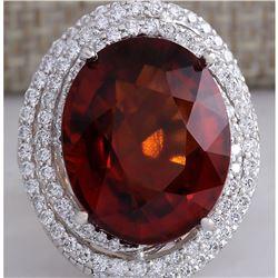 20.25CTW Natural Hessonite Garnet And Diamond Ring In 14K White Gold