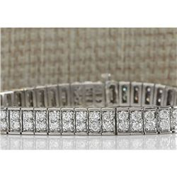 12 CTW Natural Diamond Bracelet In 18K Solid White Gold