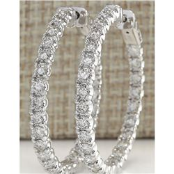 4.86 CTW Natural Diamond Hoop Earrings 14K Solid White Gold