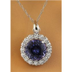 1.82 CTW Tanzanite 18K White Gold Diamond Necklace