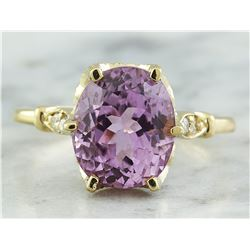 5.41 CTW Kunzite 14K Yellow Gold Diamond Ring