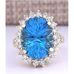 13.02 CTW Natural Blue Topaz And Diamond Ring In 18K Yellow Gold