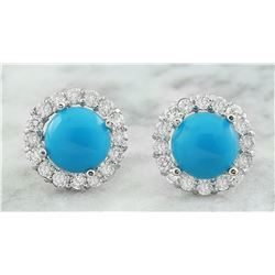 3.65 CTW Turquoise 14K White Gold Diamond Earrings
