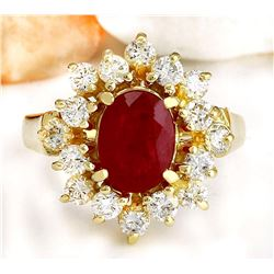 2.15 CTW Natural Ruby 18K Solid Yellow Gold Diamond Ring