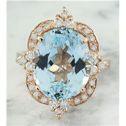 8.25 CTW Aquamarine 14K Rose Gold Diamond Ring