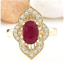 2.50 CTW Natural Ruby 14K Solid Yellow Gold Diamond Ring