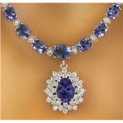 48.77 CTW Tanzanite 14K White Gold Diamond Pendant Necklace