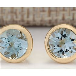 3.00 CTW Natural Aquamarine Earrings 18K Solid Yellow Gold