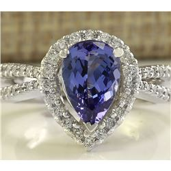 2.94 CTW Natural Blue Tanzanite And Diamond Ring 18K Solid White Gold