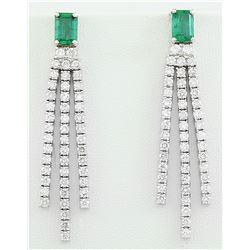 4.62 CTW Emerald 18K White Gold Diamond Earrings