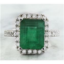 3.60 CTW Emerald 18K White Gold Diamond Ring