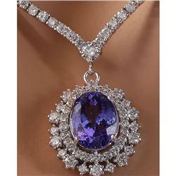 10.28 CTW Natural Tanzanite 18K Solid White Gold Diamond Necklace