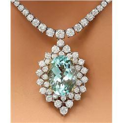 22.00 CTW Natural Aquamarine 14K Solid White Gold Diamond Necklace