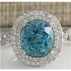 13.28 CTW Natural Zircon And Diamond Ring 18K Solid White Gold
