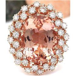 9.99 CTW Natural Morganite 18K Solid Rose Gold Diamond Ring