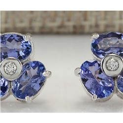3.08 CTW Natural Tanzanite And Diamond Earrings 18K Solid White Gold