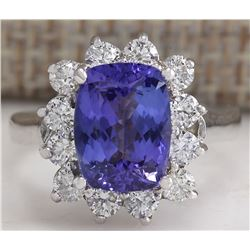 4.04 CTW Natural Blue Tanzanite And Diamond Ring 18K Solid White Gold