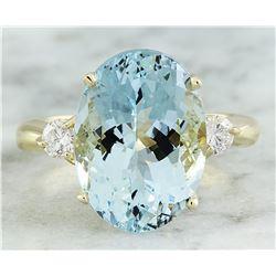 6.63 CTW Aquamarine 18K Yellow Gold Diamond Ring