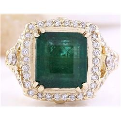 6.10 CTW Natural Emerald 14K Solid Yellow Gold Diamond Ring