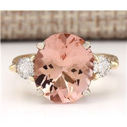5.99 CTW Natural Morganite And Diamond Ring In 18K Solid Yellow Gold