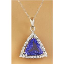 3.00 CTW Tanzanite 18K White Gold Diamond Necklace