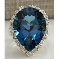 18.48 CTW Natural London Blue Topaz And Diamond Ring In14K Solid Yello Gold