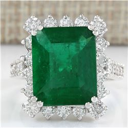 6.94 CTW Natural Colombian Emerald And Diamond Ring In 18K White Gold