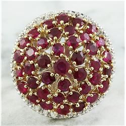 6.20 CTW Ruby 14K Two Tone Gold Diamond Ring