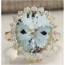 7.61 CTW Natural Aquamarine And Diamond Ring In 18K Solid Yellow Gold