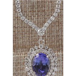 10.98 CTW Natural Tanzanite And Diamond Necklace In 18K White Gold
