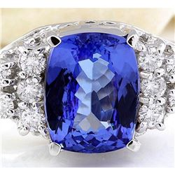 3.40 CTW Natural Tanzanite 18K Solid White Gold Diamond Ring