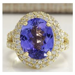 8.54 CTW Natural Tanzanite And Diamond Ring In 18K Yellow Gold